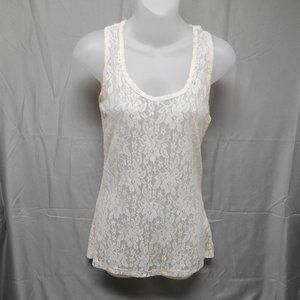 Maurices cream lace sheer tank top size small